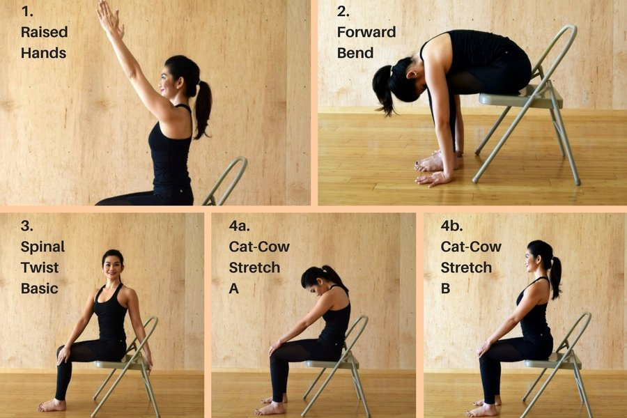 Chair Yoga Poses and Benefits 1 thru 4