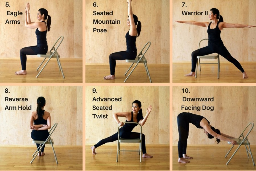 Chair Yoga Poses and Benefits 5 thru 10