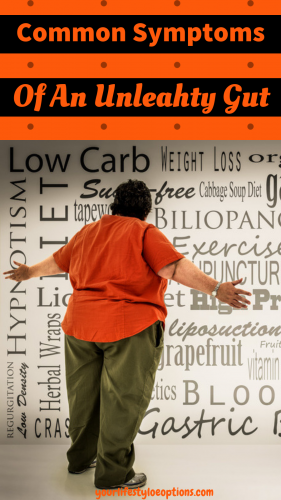 Overweight Man in Orange shirt staring at a wall of weight loss ords