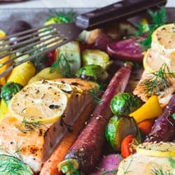 Low Carb Meal Plan - 5. Sheet Pan Salmon with Caramelized Winter Vegetables