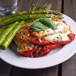 Low Carb Meal Plan - 6. Roasted Red Pepper, Mozzarella and Basil Stuffed Chicken