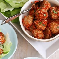 Low Carb Meal Plan - 7 Baked Turkey, Quinoa & Zucchini Meatballs Recipe in Lettuce Wraps