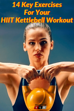 Pretty young woman holding a yellow kettlebell shoulder height with both hands
