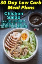 Chicken Salad with Leaf Vegetables, Mushroom, Eggs and Sesame Seed Dressing