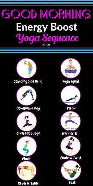 Good Morning - 10 Minute Yoga Workflow Energy Booster Infographic