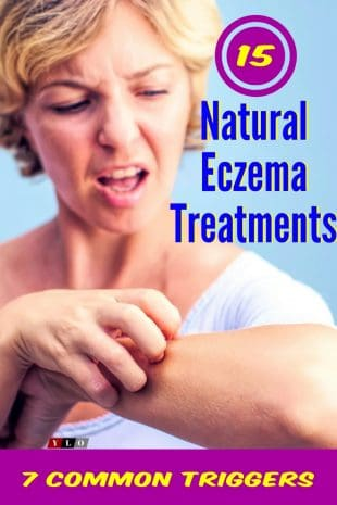 Older woman scratching her arm due to a eczema outbreak.