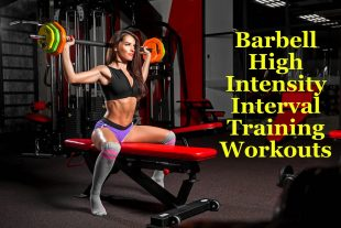 Fit woman in Gym using Barbell High Intensity Interval Training Workouts