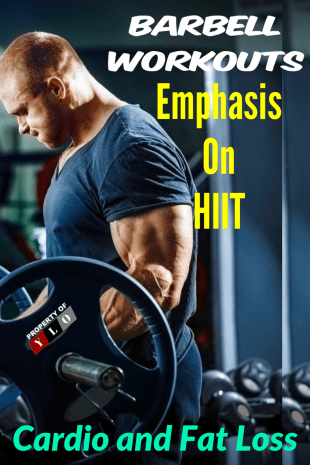 Man in Gym Using Barbell High Intensity Interval Training Workouts