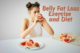 Young girl drinking grapefruit juice for belly fat loss exercise and diet