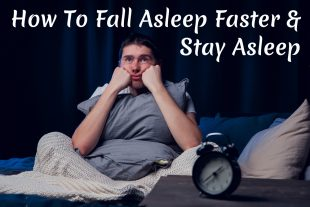 Exhausted man waiting to fall asleep needs to learn how to fall asleep faster and stay asleep
